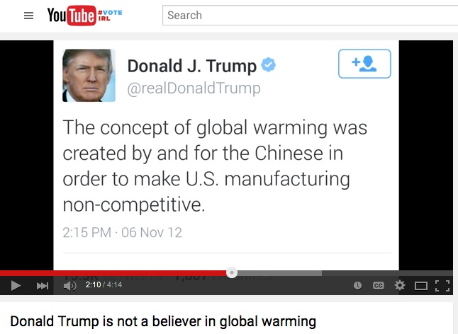 For Trump, Global Warming is Hoax!